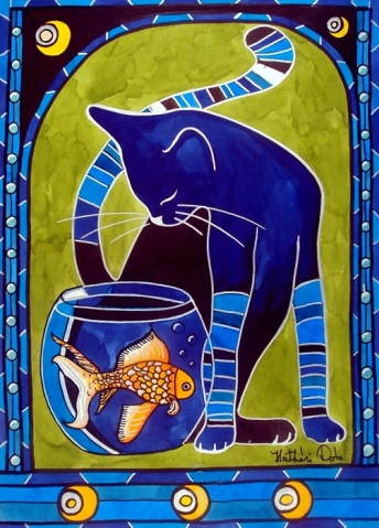 Cat Art titled Blue Cat with Goldfish by Dora Harthazi Mendes.