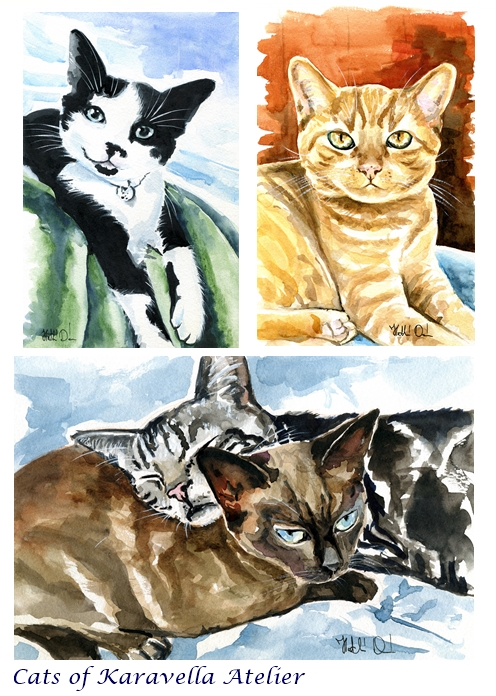 Cat paintings by Dora Hathazi Mendes, Cats of Karavella Atelier