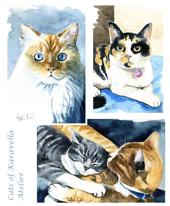 Watercolour cat paintings by Cats of Karavella Atelier