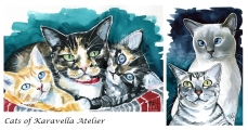 Watercolour cat paintings by Dora Hathazi Mendes, Cats of Karavella Atelier