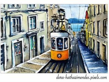 Elevador da Bica in Lisbon Portugal watercolor painting by Dora Hathazi Mendes