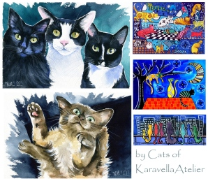 Cats in Art paintings by Dora Hathazi Mendes