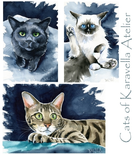 Watercolor cat paintings by Dora Hathazi Mendes
