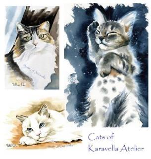 Watercolor cat art by Dora Hathazi Mendes