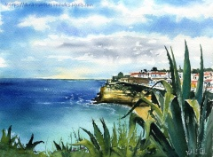 Carvoeiro in Algarve Portugal watercolor painting by Dora Hathazi Mendes